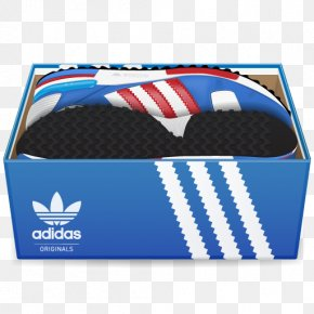 Adidas Shoes In Box - Electric Blue Brand Pattern PNG