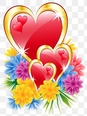 Valentine Hearts With Flowers Clipart Picture - Romance Love Boyfriend Message Happiness PNG