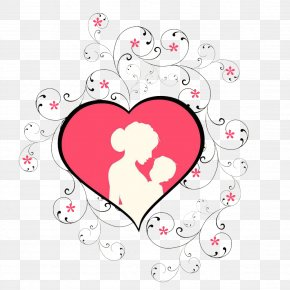Pink Heart Mother's Day Mother's Arms Child Element - Mother's Day Child Clip Art PNG