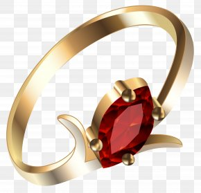 Gold Ring With Ruby Clipart - Ruby Earring Clip Art PNG