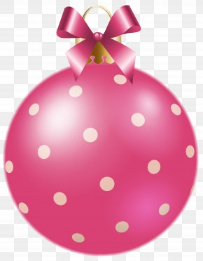 Christmas Pink Dotted Ball Clipart Image - Christmas Ornament New Year Clip Art PNG