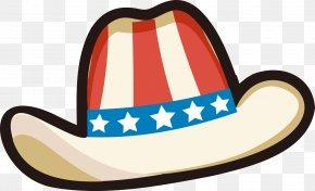 Cartoon American Flag Cowboy Hat - United States Cowboy Hat Clip Art PNG