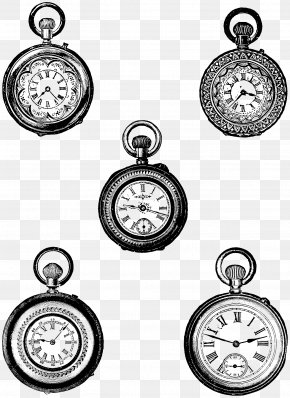 Gold Watch Cliparts - Pocket Watch Retro Style Clip Art PNG