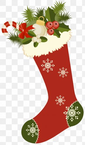 Red Retro Christmas Stocking Picture Clipart - Christmas Stocking Gift Clip Art PNG