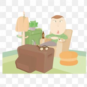 Sitting On The Couch Watching TV - Cartoon Television Illustration PNG