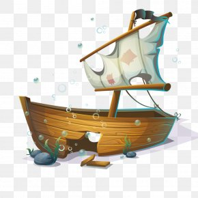 Submarine Cartoon Pirate Ship - Sailing Ship Boat PNG