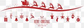 Christmas Sleigh With Elk - Santa Claus Reindeer Christmas Clip Art PNG