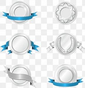 Silver Badge Blue Ribbons Vector - Euclidean Vector Ribbon Clip Art PNG