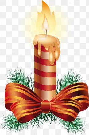 Vector Christmas Candle - Christmas Ornament Candle Illustration PNG