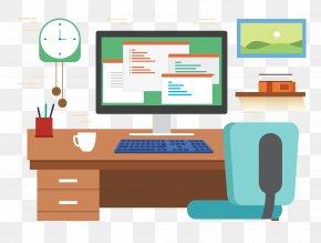 Vector Office Desk Computer - Desk Office Graphic Design PNG