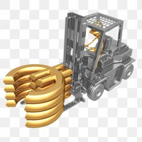 Driving A Forklift 3D Golden Villain - Forklift Photography 3D Computer Graphics Illustration PNG