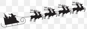 Santa With Sleigh Silhouette Transparent Clip Art Image - Santa Claus Sled Silhouette Reindeer Clip Art PNG