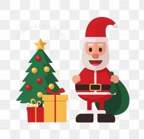 Cartoon Santa Claus Creative - Santa Claus Christmas Tree Drawing Gift PNG