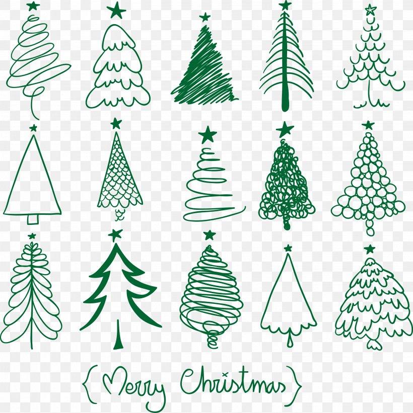 Christmas Tree Drawing Christmas And Holiday Season Christmas Ornament, PNG, 2837x2841px, Christmas Tree, Branch, Christmas, Christmas And Holiday Season, Christmas Card Download Free