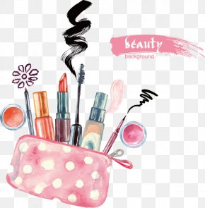 Hand-painted Cosmetics - Lipstick Cosmetics Watercolor Painting Eye Shadow PNG