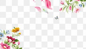 Hand Painted Flowers Butterfly Border Texture - T-shirt Flower Designer PNG