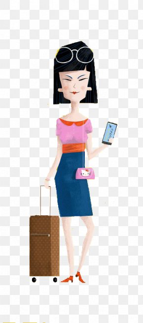 Woman Cartoon Airport - Airport Suitcase Travel PNG