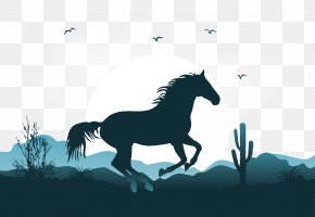 Vector Illustration Mustang Scene - Mustang Wild Horse Horse Gait Illustration PNG