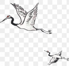 Ink Painting Style Baihe Xiang Crane - Crane Ink Wash Painting PNG