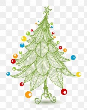 Cartoon Christmas Tree Decoration Painted Leaves - Christmas Tree New Year Tree Christmas Card PNG