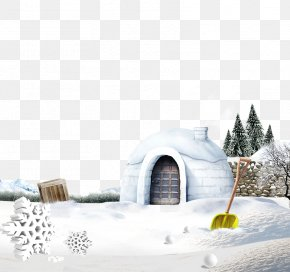 Snow Small House - Winter Solstice Solar Term Snow PNG