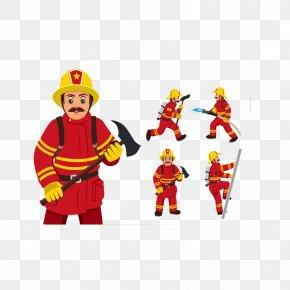 Hand Drawn Firefighter - Firefighter Cartoon Fire Engine PNG