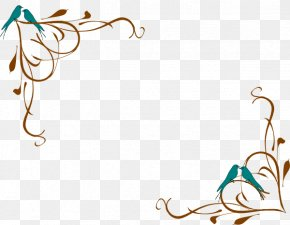 Teal Angry Bird - Clip Art Borders And Frames Decorative Corners Decorative Arts Art Deco Borders PNG