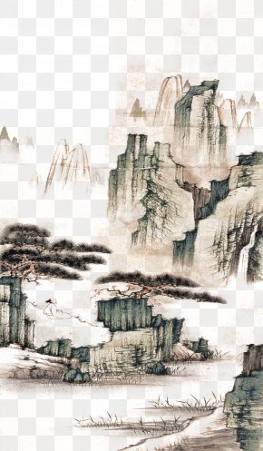 Ink Painting Mountain - Mount Lu Song Dynasty Shan Shui Ink Wash Painting Chinese Painting PNG
