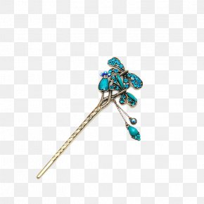 National Wind Peacock Blue Diamond Hairpin Formula - Hairpin Barrette Peafowl PNG