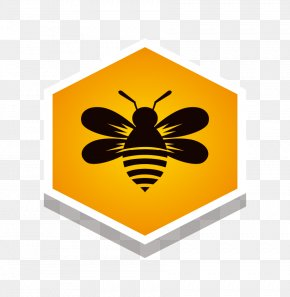 Vector Galaga Yellow Label Seal Sticker Yellow Hexagon - Honey Bee PNG