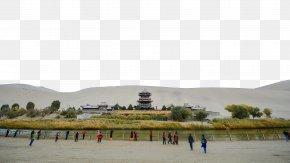 Crescent Lake In Dunhuang, Gansu Two - Crescent Lake Yueya Spring U9cf4u6c99u5c71 Wallpaper PNG