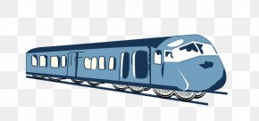 Hand-painted Blue Train - Train Passenger Car Railroad Car Public Transport PNG