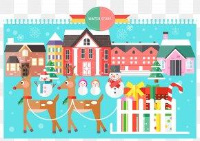 Flat Style Christmas Town - Santa Claus Christmas Flat Design Illustration PNG