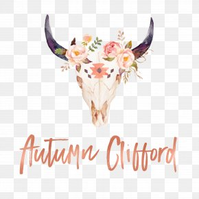 Bull - Texas Longhorn Bull Wall Decal Skull Watercolor Painting PNG