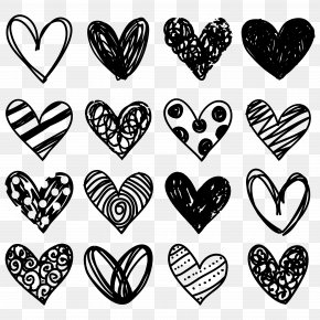 Blackandwhite Valentines Day - Doodle Pink Drawing Transparency Heart PNG