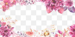 Border Purple Flowers Layered Material - Flower Clip Art PNG