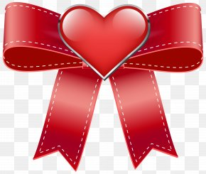 Red Bow With Heart Transparent PNG Clip Art Image - Valentine's Day Clip Art PNG