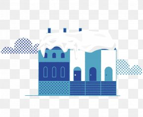 Vector Blue House Building Roof Snow - Roof Building PNG