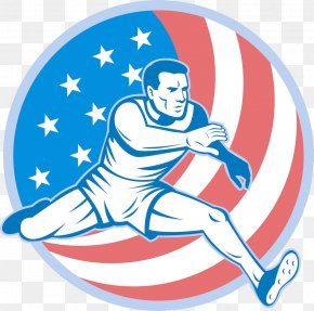 American Flag Background Running Man - Track And Field Athletics Cartoon All-weather Running Track Illustration PNG
