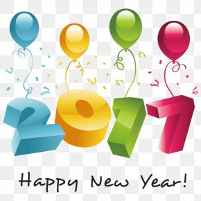 Vector Happy New Year 2017 - New Year Party Greeting Card Clip Art PNG