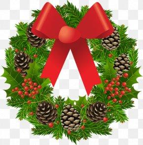 Pinecone Wreath Bow - Christmas Wreath Garland Santa Claus Clip Art PNG