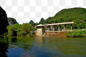 Guizhou Dragon Palace Scenic Area - Water Resources Canal Property Landscape Cottage PNG