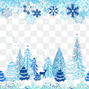Blue Christmas Tree - Snowflake Winter Clip Art PNG