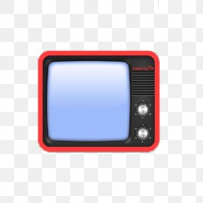 Old TV Cartoon Red - Television Set Red PNG