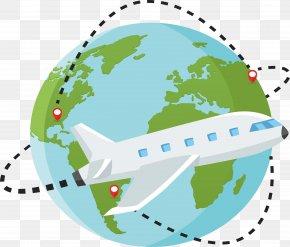 A Round Trip Plane - Lusaka Globe World Map Location PNG