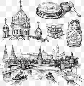 Vector Hand-painted Russian Cities - Moscow Drawing Royalty-free Illustration PNG