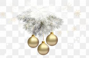 Gold Transparent Christmas Balls With Silver Pine Clipart - Christmas Ornament Christmas Decoration Christmas Tree Clip Art PNG