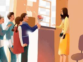 Teacher's Day Illustration - Teachers Day Student Poster Illustration PNG