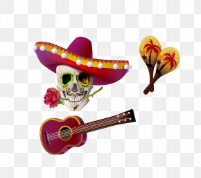 Vector Guitar Skull Hats - Cinco De Mayo Stock Photography Clip Art PNG