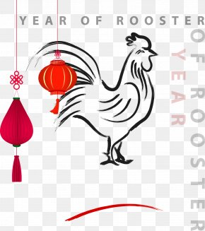 Hand-painted Rooster Chinese New Year Greeting Card Vector Material - Chinese New Year Rooster Chinese Calendar PNG